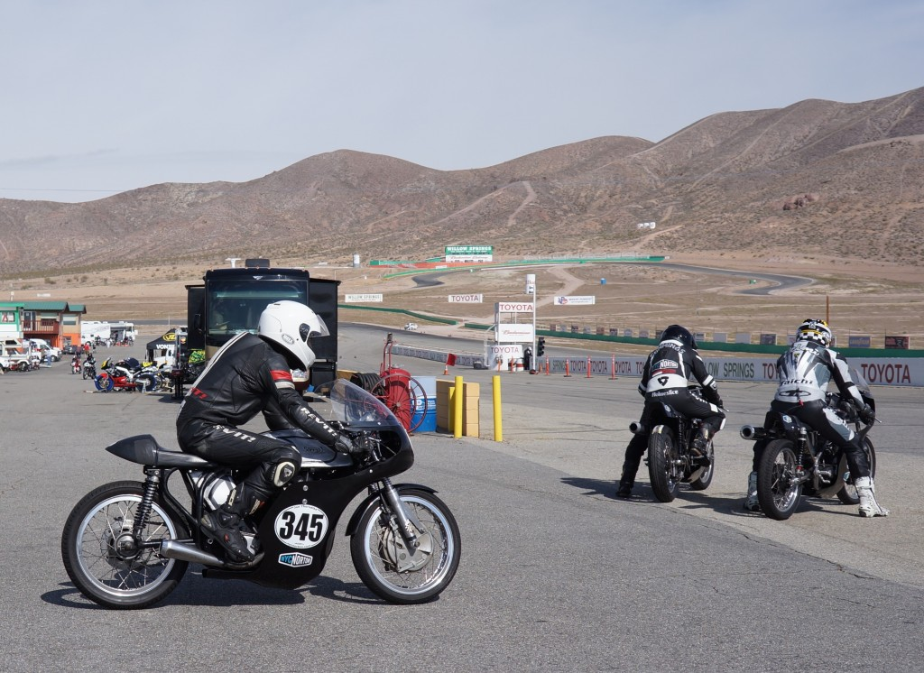 Jon, Kenny, and Helmet going out for practice at Willow Springs, April 2014