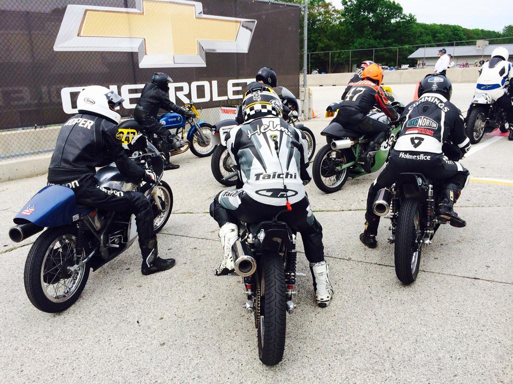 Roper, Helmi, Melton (orange helmut) and KC heading out for Sunday's 500 Premier race